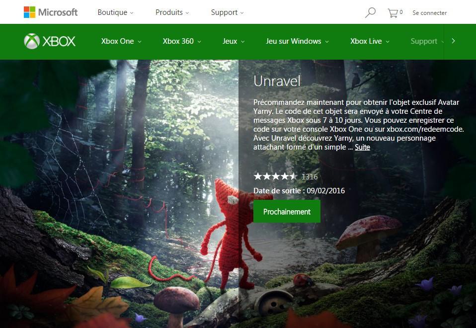 Fiche Unravel site Xbox