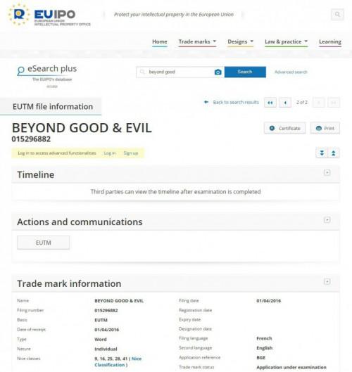Dépot de marque Ubisoft Beyond Good and Evil