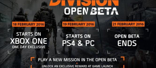 La bêta ouverte de The Division se date