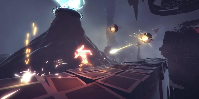 Une fenêtre de sortie et du gameplay pour Recompile